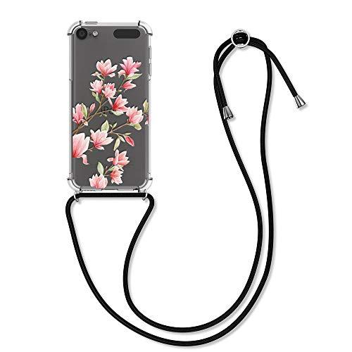 kwmobile Hülle kompatibel mit Apple iPod Touch 6G / 7G (6. und 7.Generation) - mit Kordel zum Umhängen - Silikon Schutzhülle Magnolien Rosa Weiß Transparent
