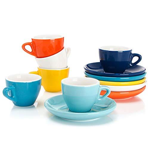 Sweese 401.002 6-teilig Espressotassen Set aus Porzellan, Dickwandige Kaffeetassen mit Untertasse, 75 ml, Bunte Serie