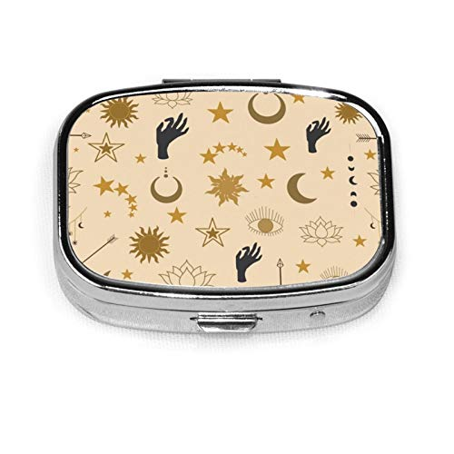 Nicegift Sun Crescent Arrows Stars Eyes Hands and Lotus Mini Portable Metal Pill Box,Suitable for Family and Business as Well as Short Trips