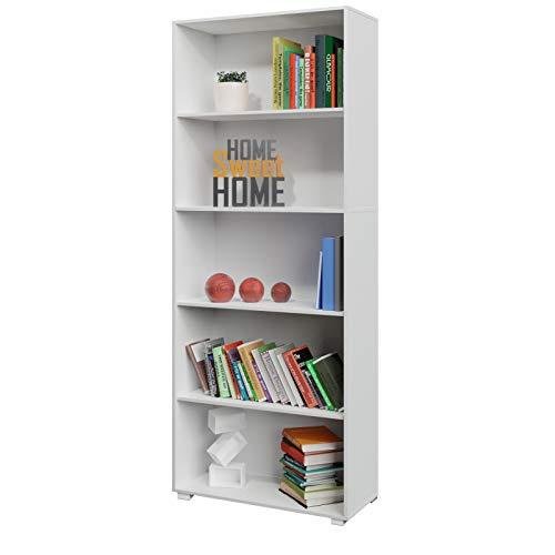 Deuba Estantería libreria Biblioteca 'Vela' Blanco de 5 estantes 190 cm Mueble de almacenaje Oficina Dormitorio salón