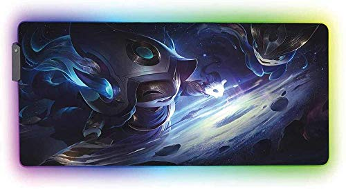 Mouse Pads Cosmic Monster RGB Gaming Mouse Pad Non Slip Rubber Base14 Lighting Modes Water Resistant Glowing LED Extended Large Mouse Mat for Gaming and Office (900×400×4mm)