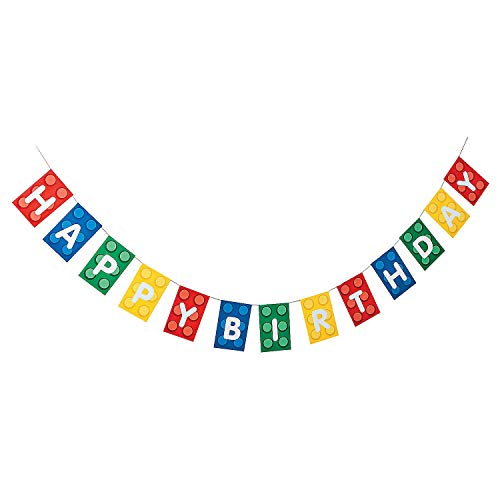 Fun Express - Block Party Garland for Birthday - Party Decor - Hanging Decor - Garland - Birthday - 1 Piece