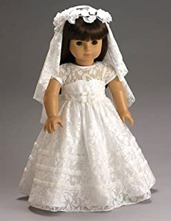 "CARPATINA Special Day Communion Bridal Dress, Veil and Flower Wreath fits 18"" American Girl Dolls"