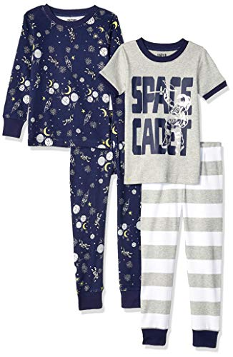 Spotted Zebra 4-Piece Snug-Fit Cotton Pajama Pyjama Set, Space Cadet, 4T