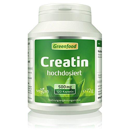 Greenfood Creatin, 500mg, hochdosiert. 120 Kapseln