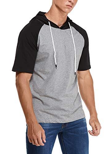 Joweechy - Sudadera de manga corta y manga larga para hombre, con capucha, monocolor Gris y negro. L