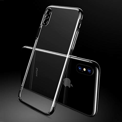 Shockproof LIJM Aardewerk Series For IPhone X/XS Electroplating Transparent Protective Achterkant Van De Behuizing (zwart) Decoratie (Color : Black)