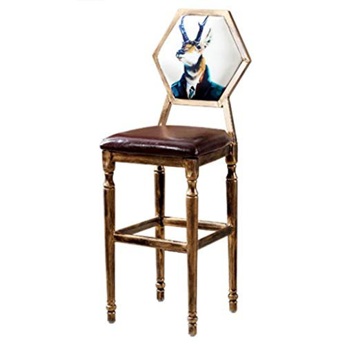 Kruk caféstoel van massief hout in nieuwe barstijl, Amerikaanse barkruk, hoge rugleuning, Stool L
