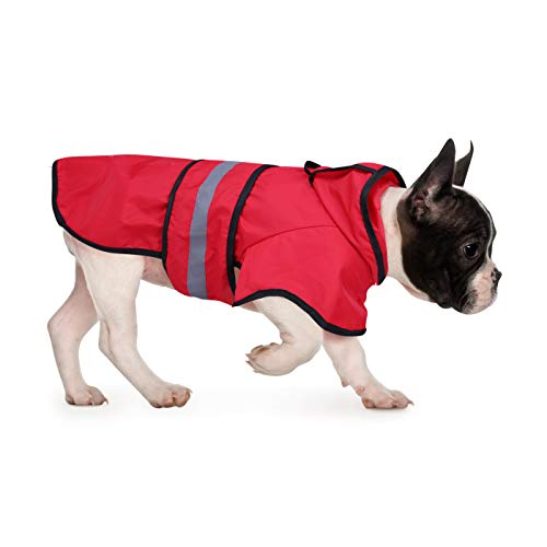 HDE Dog Raincoat Hooded Slicker Poncho for Small to X-Large Dogs and Puppies (Red, Medium)