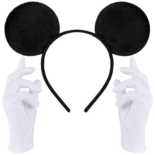 Haarreifen in schwarz mit Maus Ohren Mouse + weiße Handschuhe für Erwachsene (Maus Ohren Schwarz + weiße Handschuhe)