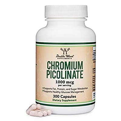 Chromium Picolinate 1000mcg for Weight Loss (High Absorption and Bioavailability) (300 Vegan Safe Capsules, Non-GMO, Gluten Free, Made in The USA) by Double Wood Supplements