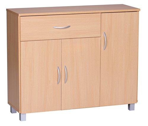 Wohnling Sideboard Jarry 1 Schublade 3 Türen tief Kommode Anrichte aus Holz Büro Esszimmer Flur Mehrzweckschrank Buche, 90 cm breit 75 cm hoch 30 cm
