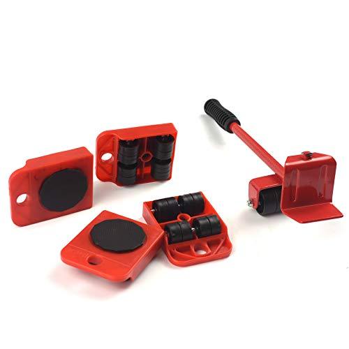 Möbelheber für Möbel, robust, schwer, für Sofa, Kühlschrank, Moving & Hebesystem, Werkzeug-Set, maximale Traglast 150 kg, 5 Packungen (rot)