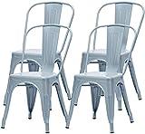 PXX Set Von 4 Metall Esszimmerstühle Terrasse Stühle Küche Metall Stühle 18 Zoll Sitzhöhe Chic Restaurants Bistro Cafe Side Metallstühle Arbeitszimmer Küche Garten-Stuhl Ohne Tisch (Gray, Satz 4),Gra