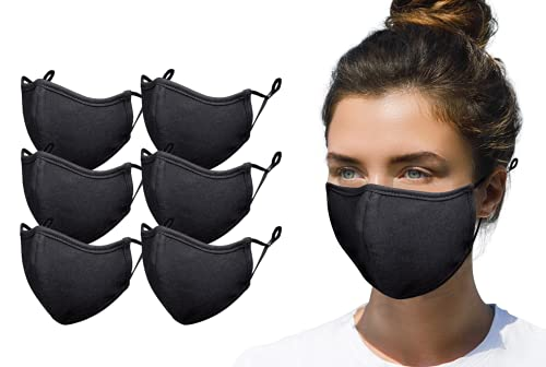 Simlu 6 Pack Premium Fabric Face Mask Reusable with Adjustable Elastic, 2 Layer,Cotton, Breathable, Nose Wire Black Cloth face Mask Washable Fits Men Women and Kids Made In USA