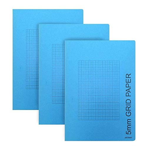 Artway - Skizzenbuch - kariert/Millimeterpapier (5 mm) - A4-3er Pack