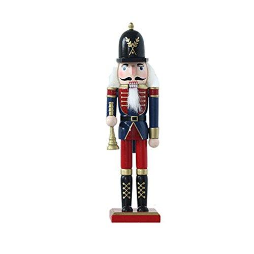 Bluespace adornos de madera decoración de Navidad figuras cascanueces marioneta Regalos juguetes de Navidad decoración para el hogar (12pulgadas) 12 pulgadas Trumpet