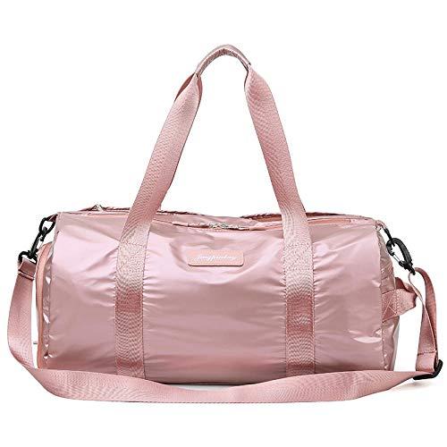 Demonqin Dry Wet Separated Sport-Sporttasche mit Schuhfach, große Sporttasche mit Reisetasche, Trainingshandtasche, Yogatasche für Männer und Frauen-Roségold_48 * 22 * 23 cm