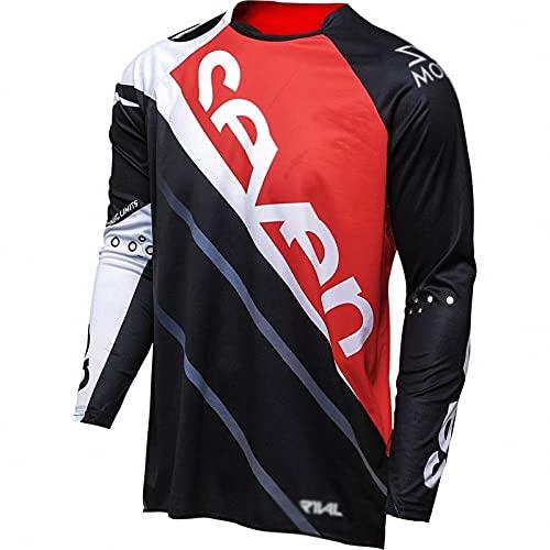 AGLT Traje de Descenso al Aire Libre -Verano Mountain Bike Motocross Jersey Camiseta de Manga Larga,Red,2XS