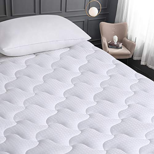 VERZEY Cooling Mattress Pad Cover Queen Size 100% Cotton Quilted Bed Topper with Down Alternative Filling (8-21 Deep Pocket Machine Washable)