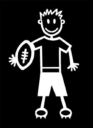 My Stick Figure Family Familie Autoaufkleber Aufkleber Decal Junge Rugby und American Football B1