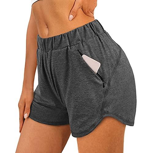 TOALOL Damen Shorts Sexy Gummiband Einfarbig Jogginghose Beiläufig Sommer-Hose Bequem Frauen Trainieren Laufhose mit Reißverschluss Tasche (Grau, M)
