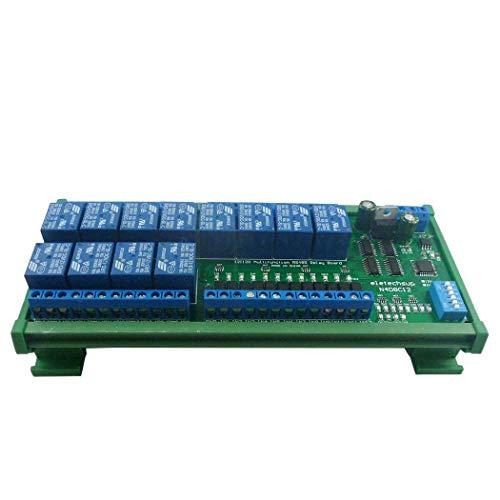 12ch Digital Input Output UART RS485 Relay Module Modbus RTU DIN35 C45 Rail Box per PLC PTZ LED Motor Machine control (24V with Rail Box)