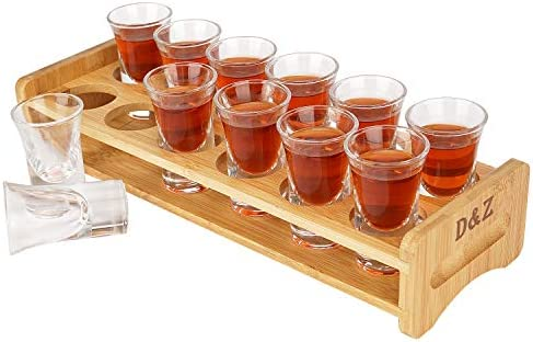 D Z Shot Glass Holder Set 12 Thick Base Crystal Clear Shot Glasses Bamboo Wooden Shot Rack Tray product image