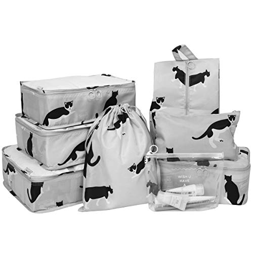 NEOVIVA トラベルポーチ 猫 アレンジケース 収納ポーチ 折りたたみ 衣類収納ケース 大容量 防水 巾着袋 軽量 旅行 出張 衣類 靴 化粧品 グレー(六セット)
