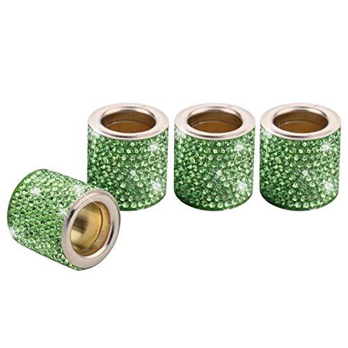 4 Piezas Reposacabezas Coche Collares Anillos Crystal Bling, Accesorios Para Coche Interior Mujer Hombres Brillantina, Decoración De Cristal De Diamante, Regalos Personalizados (Verde Claro)