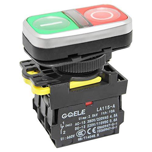 Doppeldrucktaster On-Off 230V mit LED Beleuchtung, inkl. 1 Öffner- 1 Schließer