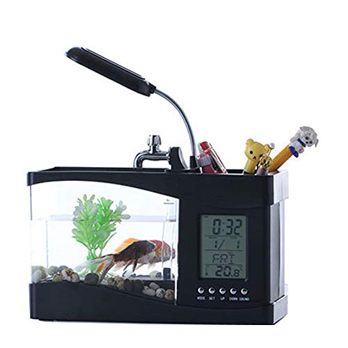 JiMany Mini Aquarium Bureau Pen Houder Desktop Mini Aquarium Bureau Aquarium met LED Lights Muziek Alarm Klok