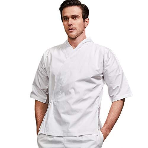 XINFU Chef's Japanese Kimono Unisex Uniform Short Sleeved Working Clothes Kitchen Restaurant Chef Jacket White