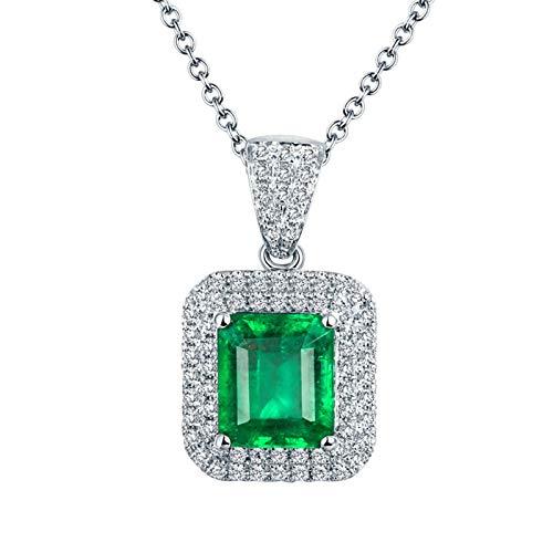 Bishilin Colgante de Cadena de Oro Blanco 18K para Mujer, Rectángulo de Esmeralda de 2,4 CT con Diamante de 0,42 CT Collares Pendientes Elegante Collares Pendientes para Mujeres Niñas