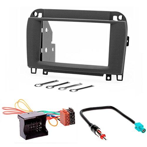 CARAV 11-134-24-7 Kit d'installation d'autoradio 2 DIN pour Mercedes-Benz Classe CL (C215) 2002-2006 ; Classe S (W220) 2002-2006 (noir) + câble adaptateur ISO et antenne.
