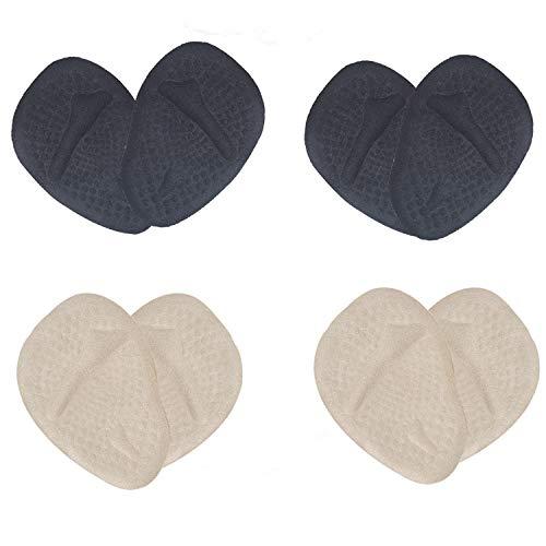 Plantillas Metatarsalgia para Mujer Almohadillas Autoadhesivas para el Antepié Suave Antichoque Antideslizante Plantillas Reutilizables para el Antepié 4 Pares - Albaricoque y Negro