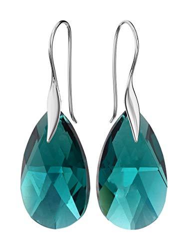 Crystals&Stones - Pendientes *Mandele* 22 mm color esmeralda – bonitos pendientes de mujer con cristales de Swarovski Elements, fantásticos pendientes con estuche
