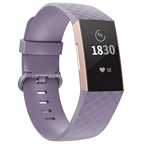 Adepoy für Fitbit Charge 3 Armband, Verstellbarer klassischer Sport Ersatzarmband Kompatibel mit Fitbit Charge 3/ Charge 3 SE, Damen Herren (Lavendel, Klein)