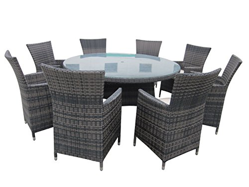 9 Piece Wicker Dining Sets, Patio Round Dining Set - Taupe