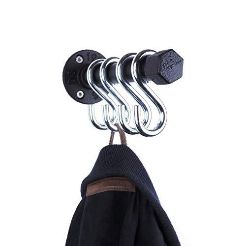 Garderobe 16cm mit 4 Wandhaken handgefertigt in Deutschland schwarz sehr stabil aus Metall im Industrial Design - Handtuchhalter