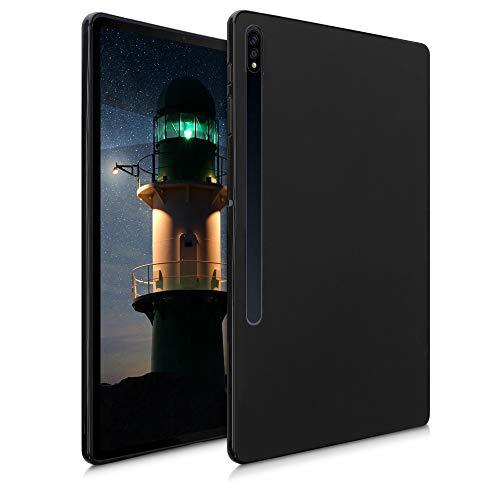 kwmobile Hülle kompatibel mit Samsung Galaxy Tab S7 Plus - Silikon Tablet Cover Case Schutzhülle Schwarz matt
