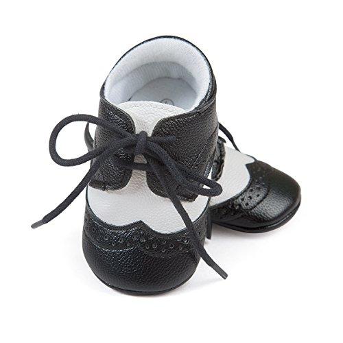 ESTAMICO Baby Jungen PU Schnürsenkel Lauflernschuhe Schwarz 6-12 Monate