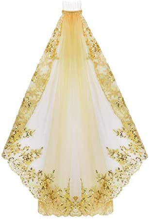 Halloween Costume Black Glod Long Veil Tulle Bridal Wedding Cathedral Veil Gold 1 Layer With product image