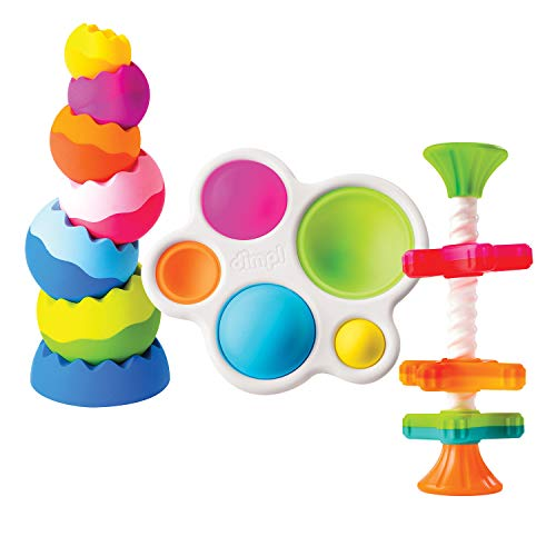 Fat Brain Toys Tobbles, Mini Spinny, Dimpl Toy Bundle - 9-Piece Combo Spinner, Fidget Popper and Stacking Baby Toy Activity Set