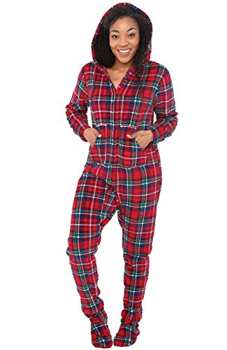 Alexander Del Rossa Women's Warm Fleece One Piece Footed Pajamas, Adult Onesie with Hood, Medium Red and Green Plaid (A0322Q19MD)