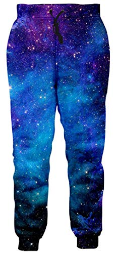 Goodstoworld Mens Jogger Pants Blue Galaxy Sweatpants 3D Space Starry Graphic Sportswear Athletic Pants Casual Hipster Running Cuffed Pants for Women Man, Medium