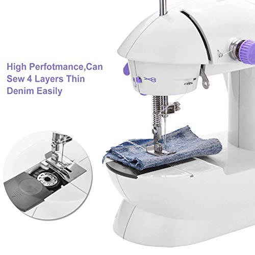 Check Out This Present Newly Portable Mini Sewing Machine Crafting Mending Machine with Light for Household-US-