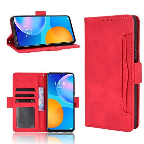 ANWEN para Funda Samsung Galaxy A42 5G,Ranura para Tarjetas y Efectivo 2 en 1 Desmontable, Billetera de Cuero PU con Solapa de Cierre con Soporte, Adecuada para Samsung Galaxy A42 5G-Rojo