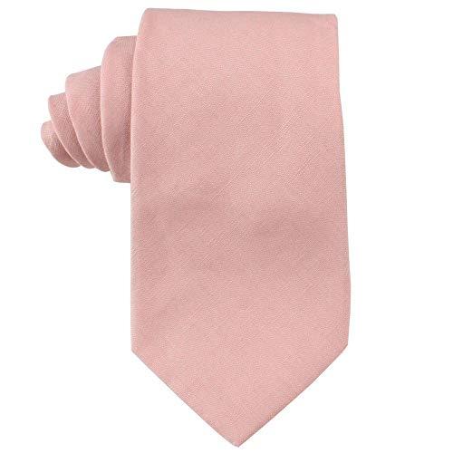 AUSCUFFLINKS Herren Baumwolle erröten dünne krawatten leinen krawatten | hochzeitsbindungen für trauzeugen krawatte für den bräutigam (normale krawatte, erröten rosa)