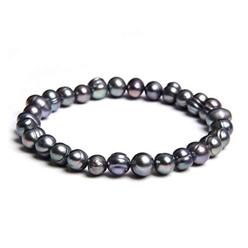 DSJTCH Pulseras de Perlas Naturales de Agua Dulce Real Cultured Pearls Pulsera for Las Mujeres Pearl Bangles Bangles Boda Joyería Fina (Length : 19cm, Metal Color : 5)
